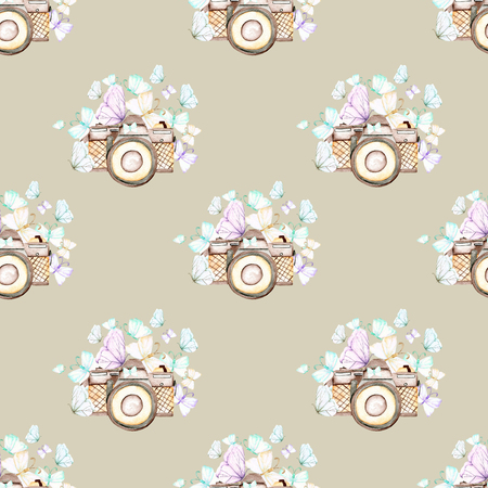 Seamless pattern with watercolor retro cameras and butterflies, hand drawn isolated on a light brown background