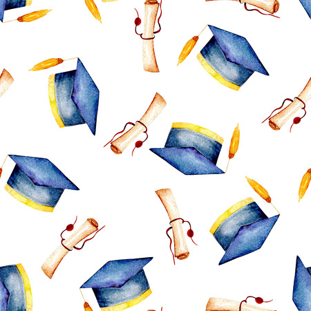 high end: Seamless pattern with watercolor graduate hat and scroll of parchment, hand painted isolated on a white background