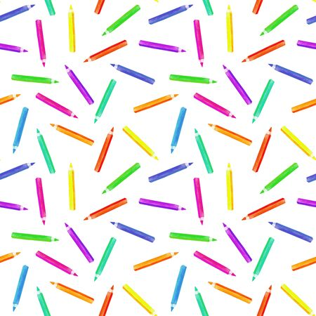plot: Seamless pattern with watercolor colour pencils, hand painted isolated on a white background