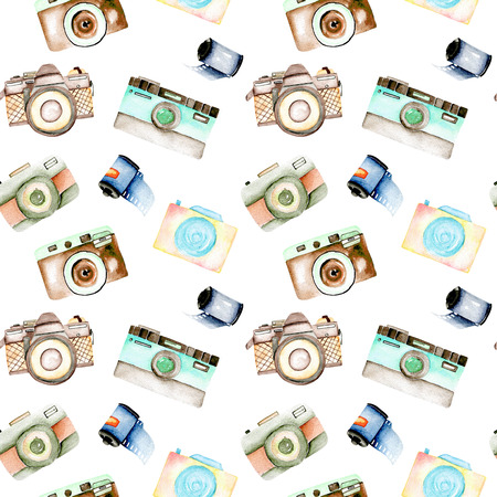 Seamless pattern with watercolor retro cameras and films, hand drawn isolated on a white background Stok Fotoğraf