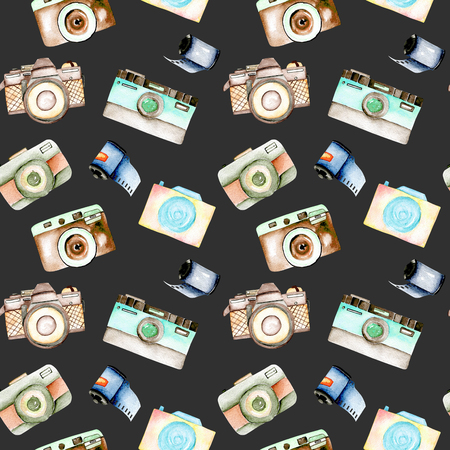Seamless pattern with watercolor retro cameras and films, hand drawn isolated on a dark background