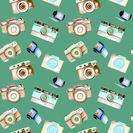 Seamless pattern with watercolor retro cameras and films, hand drawn isolated on a green background