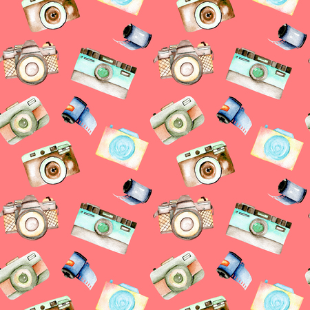 Seamless pattern with watercolor retro cameras and films, hand drawn isolated on a pink background