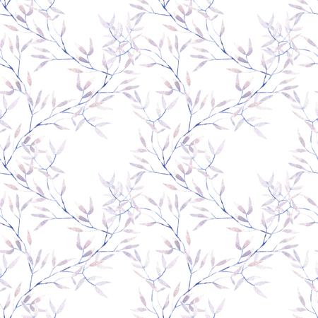 シームレスな水彩画の紫木の枝を花模様、白地に手書き 写真素材