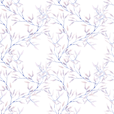 Seamless floral pattern with watercolor purple tree branches, hand drawn on a white background Stock Photo