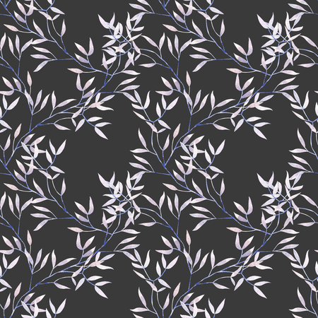 Seamless floral pattern with a watercolor purple tree branches, hand drawn on a dark background