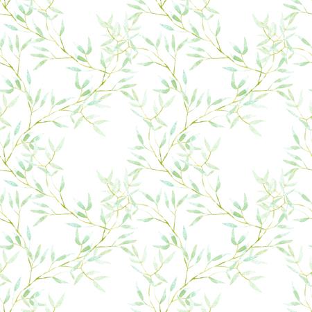 Naadloos bloemenpatroon met takken van de waterverf de groene boom, hand die op een witte achtergrond wordt getrokken Stockfoto - 77874218