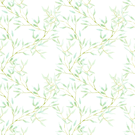 Seamless floral pattern with watercolor green tree branches, hand drawn on a white background Фото со стока