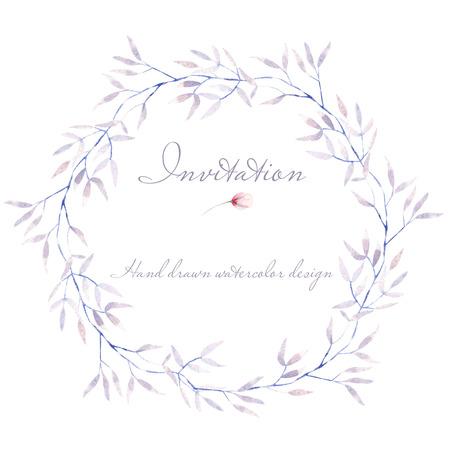 サークル フレーム、ボーダー、水彩、紫色の木の枝と花輪、招待状、カードの装飾、その他の作品のための白い背景の上に描画を手 写真素材