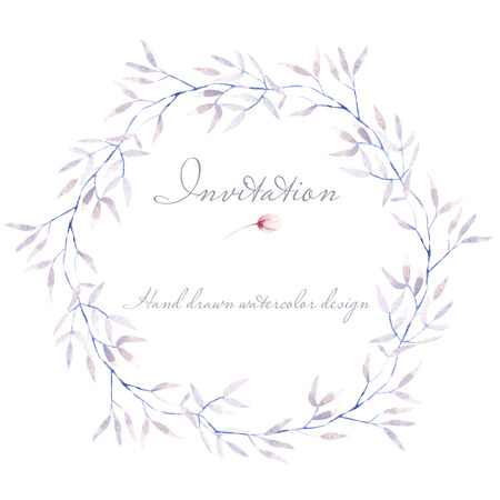 Circle frame, border, wreath with watercolor, purple tree branches, hand drawn on a white background, for invitation, card decoration and other works Stok Fotoğraf