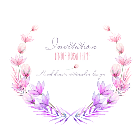 Circle frame, border, wreath with watercolor tender flowers and leaves in purple and pink shades, hand drawn on a white background, for invitation, card decoration and other works