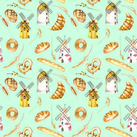 Seamless pattern with bakery products (bagel, loaf, French baguette), wheat spikelets and windmills, and hand drawn in watercolor on a mint background
