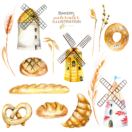pone: Set, illustration collection with watercolor bakery products (bagel, loaf, French baguette), wheat spikelets and windmills, hand drawn isolated on a white background