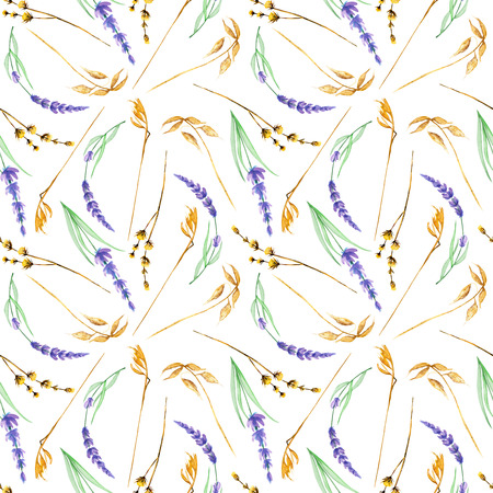 Seamless pattern with yellow dry wildflowers and lavender flowers, hand drawn in watercolor on a white background