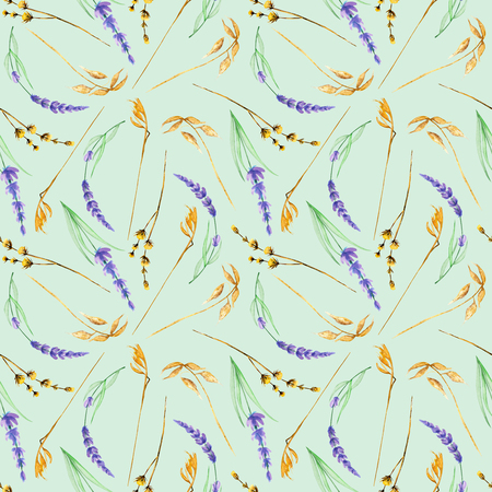 Seamless pattern with yellow dry wildflowers and lavender flowers, hand drawn in watercolor on a blue background