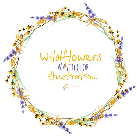 Wreath, circle frame border with yellow dry wildflowers and lavender flowers hand drawn in watercolor on a white background