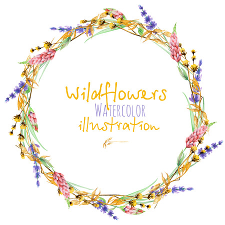 Wreath, circle frame border with yellow dry wildflowers, lupine and lavender flowers, hand drawn in watercolor on a white background Stok Fotoğraf