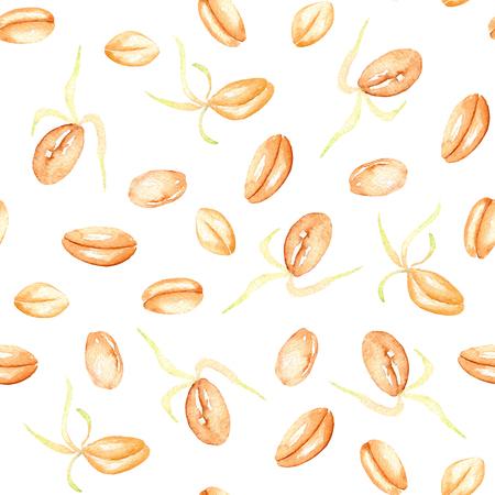 白い背景に水彩で描かれた発芽小麦粒手でシームレスなパターン