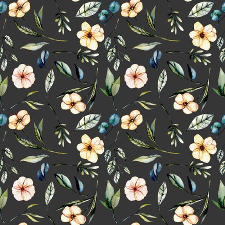 수채화 핑크 꽃, 유칼립투스 잎과 녹색 지점, 원활한 플로랄 패턴 손으로 그린 어두운 배경에 고립 된