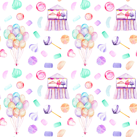 Seamless pattern with watercolor bundle of balloons, sweets (candies, marshmallow and paste) and cotton candy, hand drawn isolated on a white background