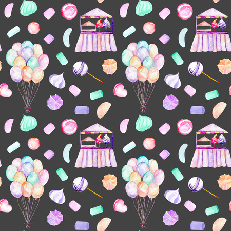 Seamless pattern with watercolor bundle of balloons, sweets (candies, marshmallow and paste) and cotton candy, hand drawn isolated on a dark background Stock Photo