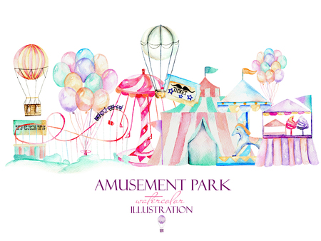 Illustration with watercolor elements of amusement park, hand drawn isolated on a white background, decor print, can be used for the logo, symbol, mark Reklamní fotografie