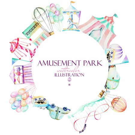 遊園地、手描きの水彩画の要素を持つサークル フレーム ホワイト バック グラウンド上に分離することができますバナー、ロゴの使用 写真素材