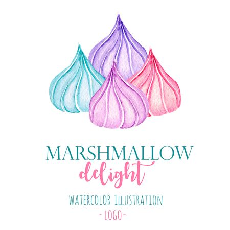 Watercolor marshmallow illustration, hand drawn isolated on a white background, for use in a logo, sign, symbol