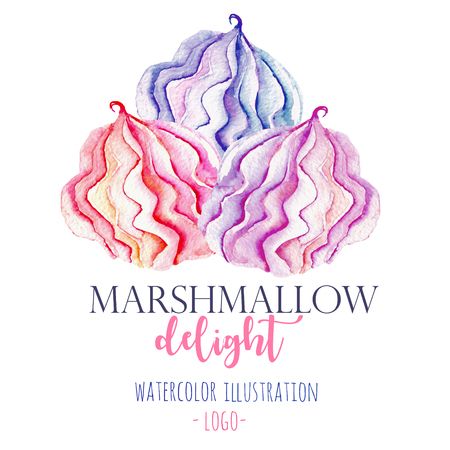 Watercolor marshmallow illustration, hand drawn isolated on a white background, for use in a  , sign, symbol Banco de Imagens - 78331919