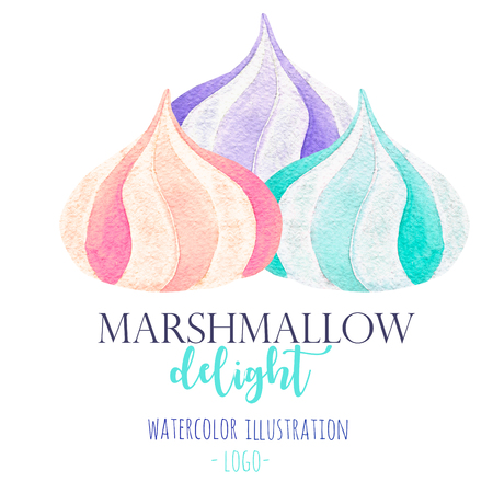 水彩マシュマロ イラスト手描きロゴ、サイン、シンボルの使用のための白い背景の上分離