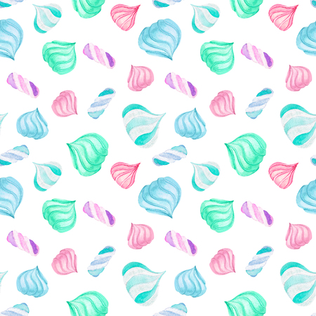 Seamless pattern with watercolor marshmallow, hand drawn isolated on a white background Stock Photo