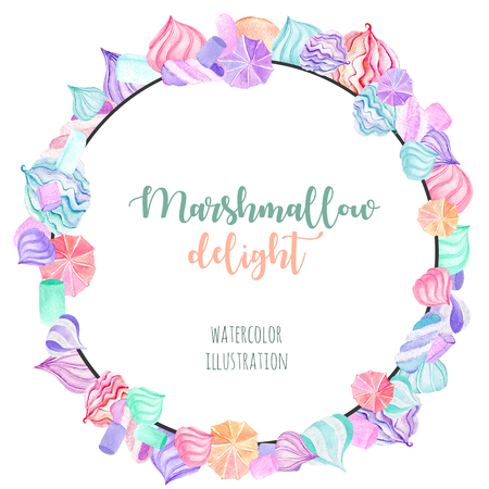 Wreath, circle frame with watercolor marshmallow, hand drawn isolated on a white background