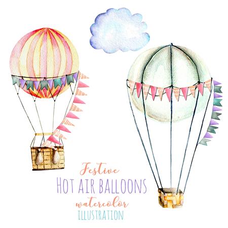 フラグと熱気球の水彩イラスト、カルーセル、白地に分離された手描き