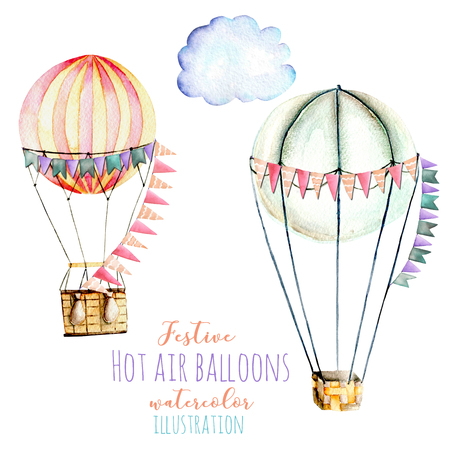 Illustration with watercolor hot air balloons with flags, hand drawn isolated on a white background, carousels Stockfoto