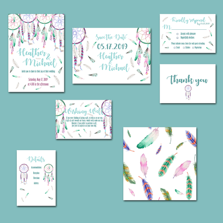 Template cards set with watercolor dream catchers; wedding design for invitation, Save the date card, RSVP, Thank you card, Wishing Well card, for anniversary day