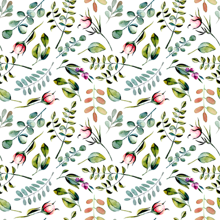白地に手書きの水彩ユーカリの枝、ピンクの牡丹の花蕾、緑の植物、シームレスなパターン