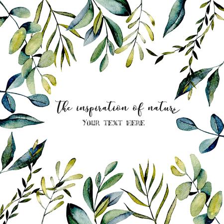 Šablona pohlednice s větvemi eukalyptu a další zelené rostliny ilustrace akvarelu, ručně kreslená na bílém pozadí, pro pozvánky, výzdobu karet a další práce, svatební design, přání