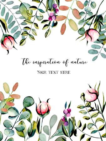 Carte postale avec branches d'eucalyptus, boutons de fleurs de pivoine rose et plantes vertes illustration d'aquarelle, dessinée sur fond blanc, invitation, décoration de carte et autres ?uvres, conception de mariage, carte de voeux Banque d'images - 79243849