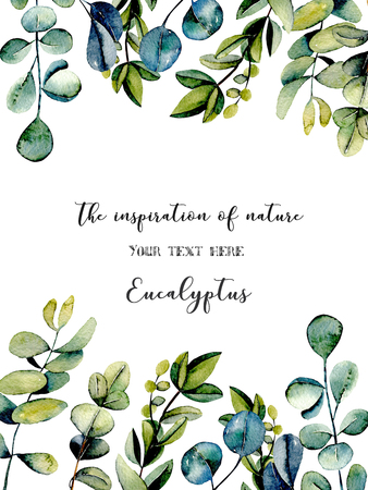 Template postcard with eucalyptus branches watercolor illustration, hand drawn on a white background, for invitation, card decoration and other works, wedding design, greeting card Stock Photo