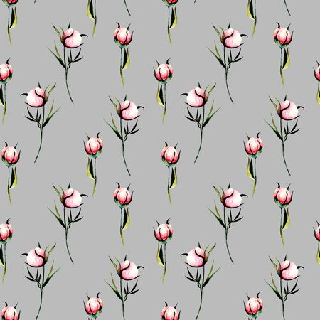 Seamless floral pattern with pink peony flowers buds, hand drawn isolated on a gray background