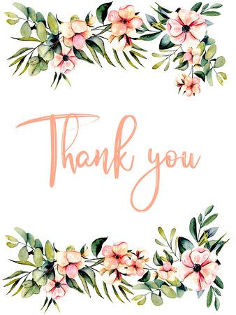 Šablona pohlednice s růžovými sasanky a větvemi eukalyptu, ilustrace akvarel, ručně kreslená na bílém pozadí, pro pozvánky a jiné práce, svatební design, přání