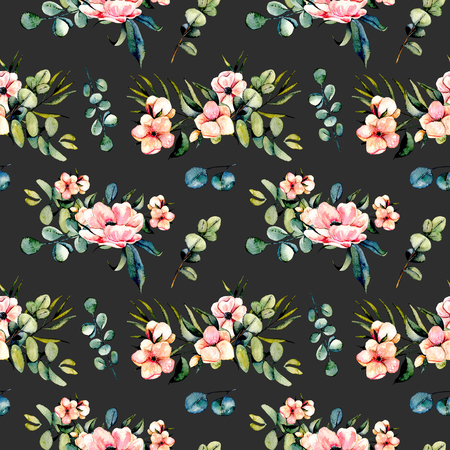 gum tree: Seamless floral pattern with watercolor pink flowers and eucalyptus branches bouquets, hand drawn on a dark background