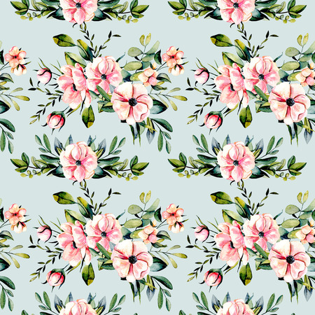floret: Seamless floral pattern with watercolor pink flowers and eucalyptus branches bouquets, hand drawn on a blue background Stock Photo