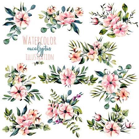 수채화 핑크 꽃, 유칼립투스 분기 및 다른 식물 집합을 부케 그림, 인사말 카드, 청첩의 장식을위한 흰색 배경에 고립 된 손 그려진