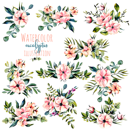 Set of watercolor pink flowers, eucalyptus branches and other plants bouquets illustration, hand drawn isolated on a white background, for a greeting card, decoration of a wedding invitation