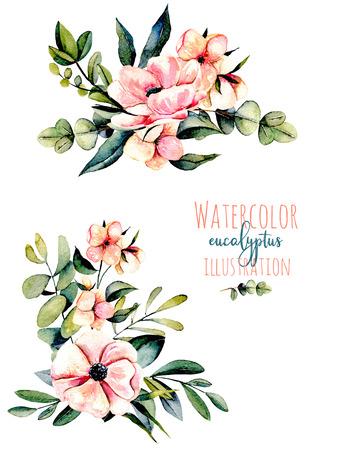 Ensemble de fleurs roses d'aquarelle, branches d'eucalyptus et autres plantes, illustration de bouquets, dessinée à la main isolée sur fond blanc, pour une carte de voeux, décoration d'une invitation de mariage Banque d'images - 80767180