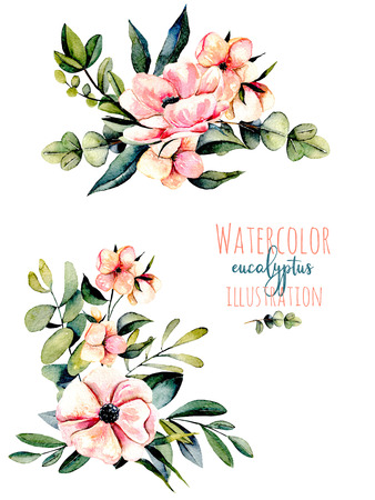 Set of watercolor pink flowers, eucalyptus branches and other plants bouquets illustration, hand drawn isolated on a white background, for a greeting card, decoration of a wedding invitation Banco de Imagens - 80767180
