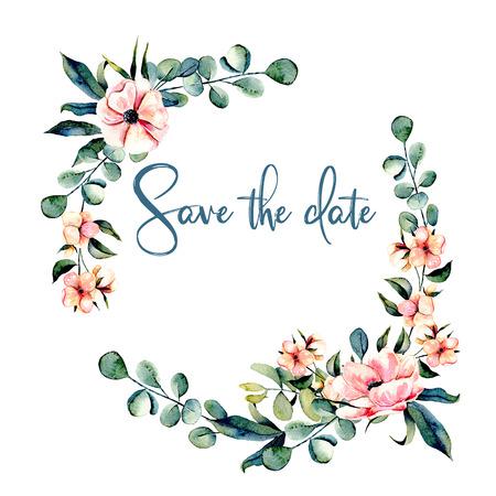 화 환, 수채화 핑크 꽃과 유칼립투스 분기 원 프레임, 흰색 배경에 그려진 손 스톡 콘텐츠