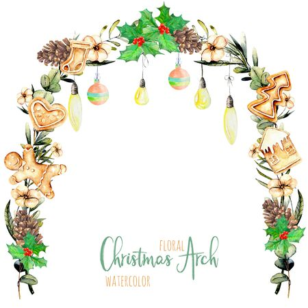 Watercolor floral Christmas arch with hanging lamps for holiday design, greeting and invitation cards, hand painted isolated on a white background Stock Photo