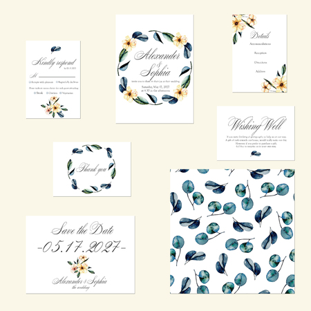 gum tree: Template cards set with watercolor pink flowers and eucalyptus branches; Wedding design for invitation, Save the date card, RSVP, Thank you card, Wishing Well card, for anniversary day